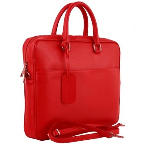 Geanta de laptop din piele naturala rosie Vincenzo creata in Italia
