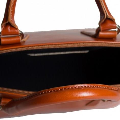 Geanta de mana pentru dame din piele naturala cu design rigid.  Geanta maro cognac