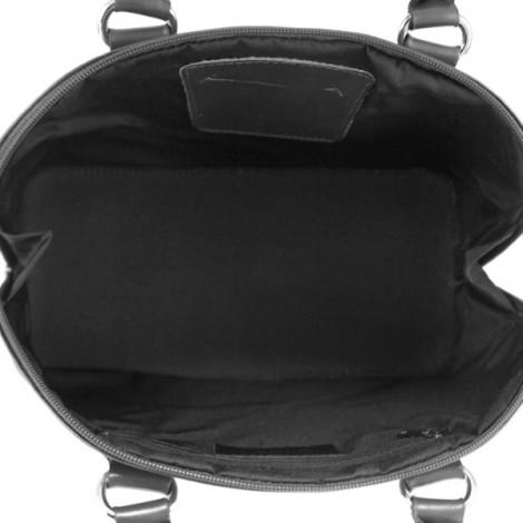Geanta de mana pentru dame din piele naturala cu design rigid.  Geanta neagra