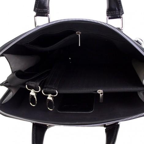 Geanta laptop din piele naturala Esme pentru dame. Creata in Italia. geanta de umar. Geanta neagra