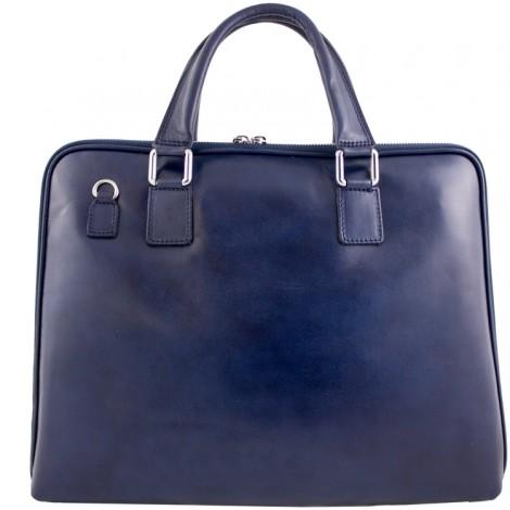 Geanta laptop din piele naturala Esme pentru dame. Creata in Italia. geanta de umar. Geanta albastra