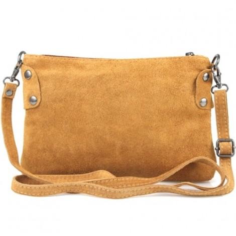 Poseta din piele naturala Tianna ce poate fi purtata ca geanta de umar. Poseta maro cognac