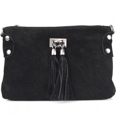 Poseta din piele naturala Tianna ce poate fi purtata ca geanta de umar. Poseta neagra