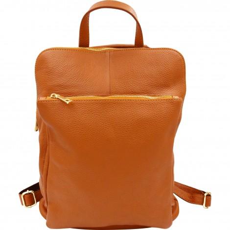 Rucsac din piele naturala ce poate fi transformat in geanta de umar. Rucsac maro cognac